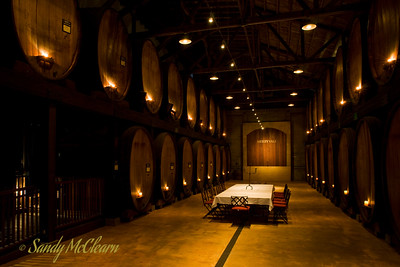 The cask room at the Merryvale Winery in the Napa Valley.