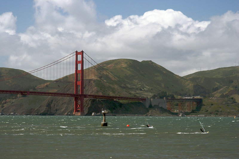 Wind surfing on San Francisco Bay.