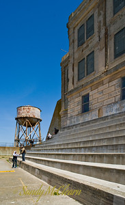 "The exercise yard on Alcatraz. I haven't seen the movie, but apparently Clint Eastwood sat on these steps in the movie ""Escape from Alcatraz""."