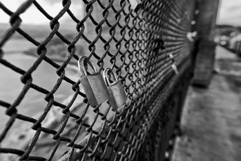 """Love Locks"" on Golden Gate Bridge - San Francisco, CA"