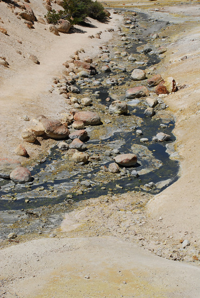 """<span id=""""title"""">Lifeless Stream, Bumpass Hell </span> Too hot, to minerally. Wierd to see all of the colors."""