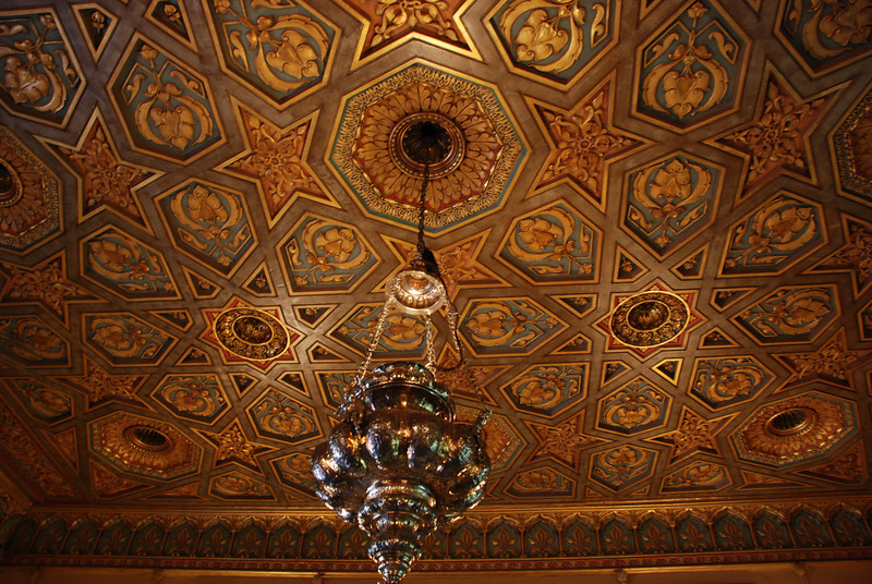 """<span id=""""title"""">Ceiling of Guest Bedroom, Hearst Castle</span> This is the opulent ceiling of a guest bedroom in the smallest of the 3 guest houses."""