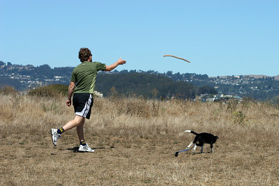 Eddy playing fetch with Jared