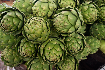 At the fruit stand: artichokes.