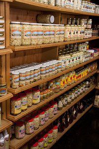 At the fruit stand: All the varieties of canned garlic that you could possibly imagine.