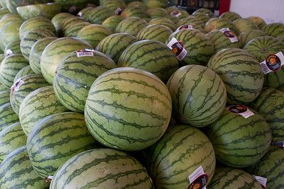 At the fruit stand: watermelons.