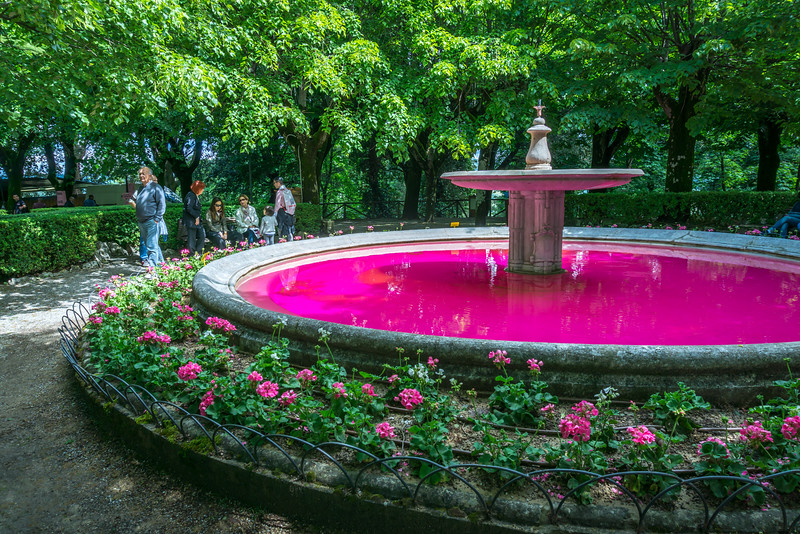Pink fountain in honor of the Giro d'Italia in Radda in Chianti