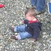Aaron not enjoying Washington's rocky beach.