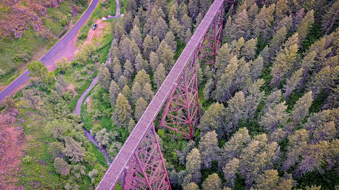 arial of railroad bridge