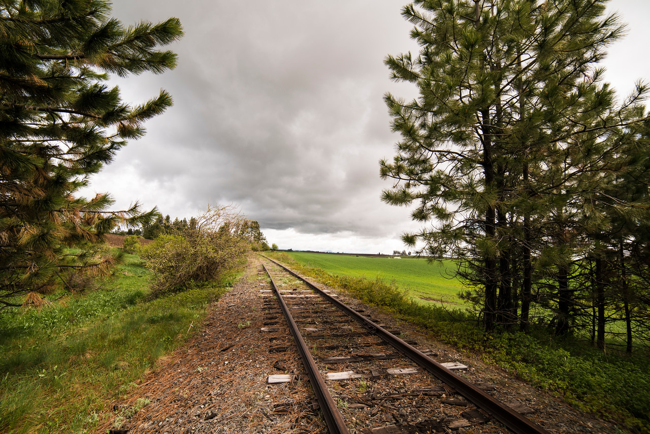 Railroad in farmland