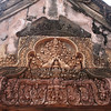 Intricate carvings on the wall at Bantey Srei