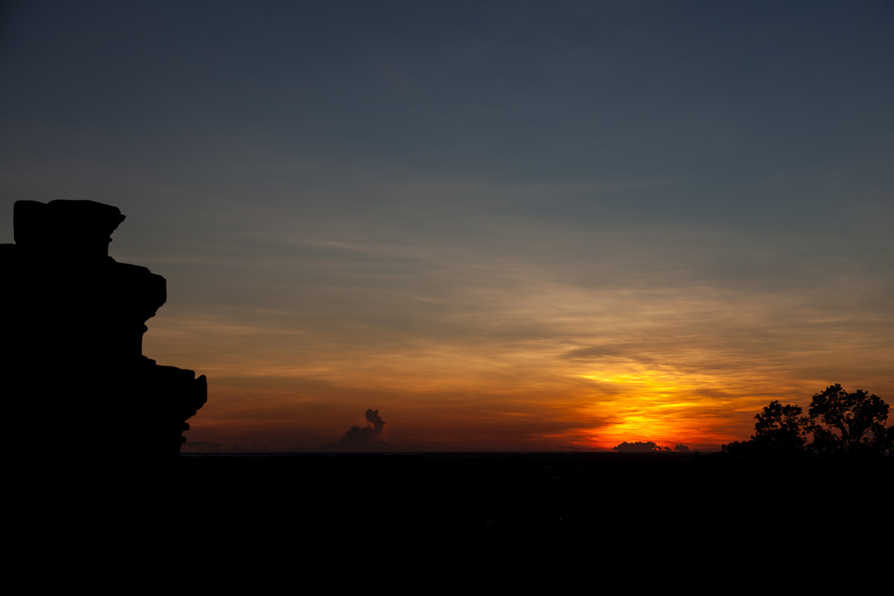 Sunset, with part of the temple silhouetted.