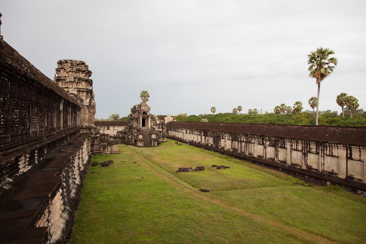 Looking out from the central part of Angkor Wat toward one of the libraries at the front of the complex.