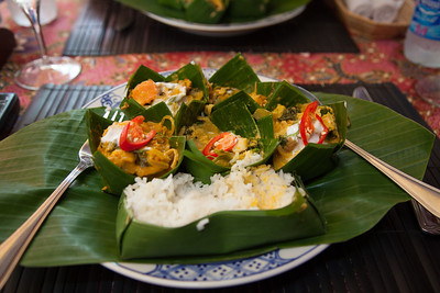 Traditional amok, the Cambodian national dish, at a restaurant called Amok in the alley in Siem Reap. The amok (essentially, steamed curry) was served over chicken, beef, fish, pork, and shrimp with rice.