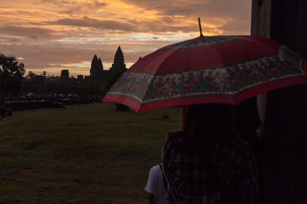A more colorful umbrella at Angkor Wat.