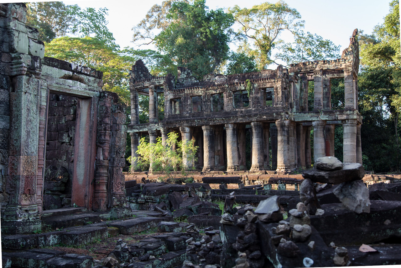 Inside Preah Khan you can see some of the rubble and sheer scale of the complex. Preah Khan was originally built in 1191 as a monastary and learning center by King Jayavarman VII.