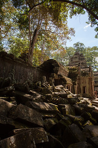 Some rubble outside one of the walls at Ta Prohm.