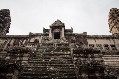 A view up to the high point inside Angkor Wat, the central sanctuary. It was closed for restoration, so we could not go up the stairs.