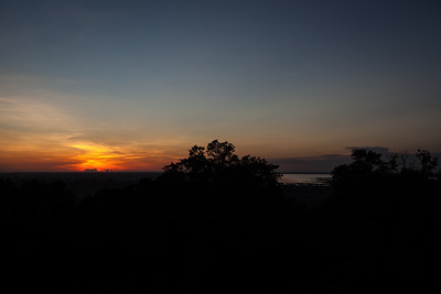 Sunset, with Tonle Sap in the distance.