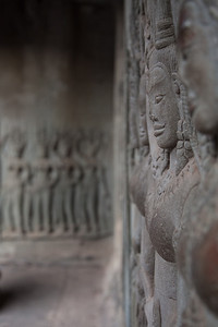 Some of the reliefs carved into the walls of Angkor Wat.