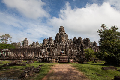A view of the Bayon temple - you can see a few people in the shot for a sense of scale.