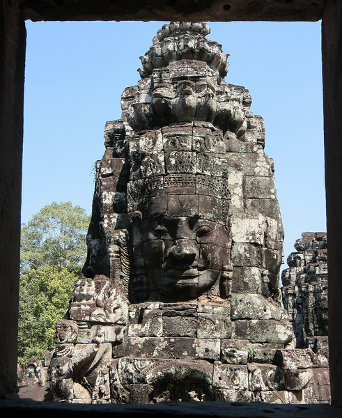Stone heads in Bayon temple, Angkor