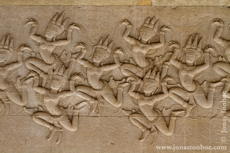 Churning of the Sea of Milk Bas-relief Decoration - Asparas