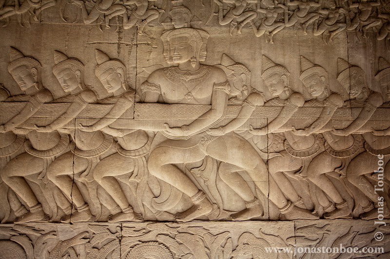 Churning of the Sea of Milk Bas-relief Decoration