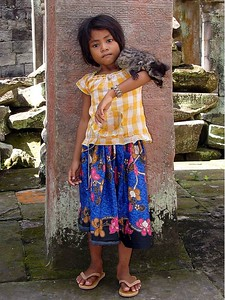 Temple Girl with pet lemur.