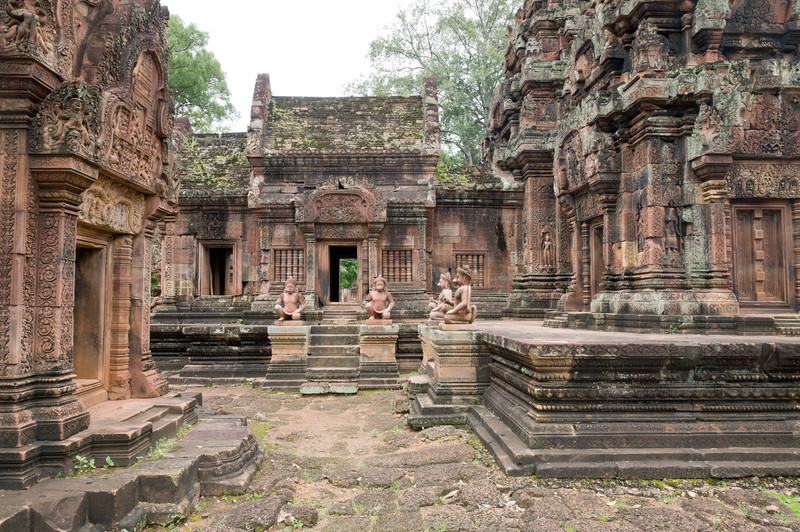 This is the interior of Banteay Srei, a 10th century red sandstone temple famous for its intricate carvings. The temple is dedicated to the Hindu god Shiva.