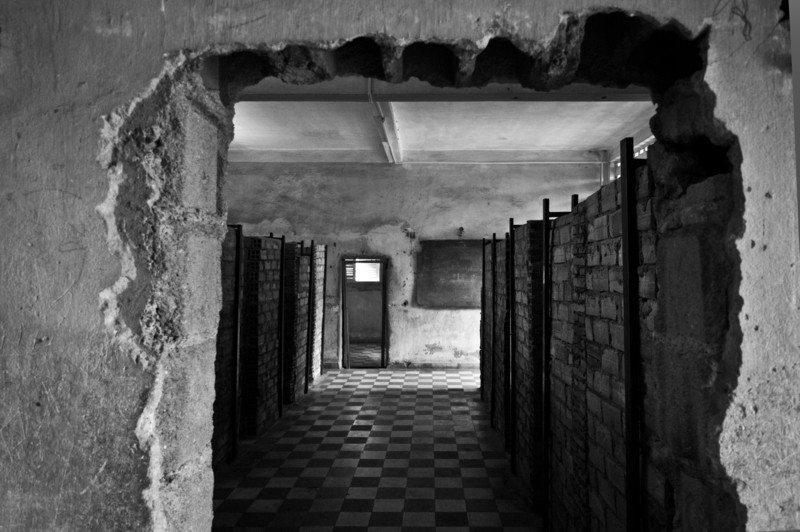 Cells at the S21 prison, where the Khmer Rouge processed suspected traitors, tortured some, and sent all to their death in the Killing Fields.