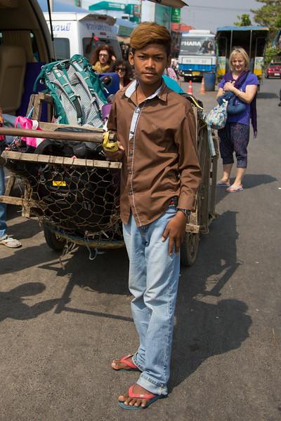 Baggage handler at the Thailand/Cambodia border