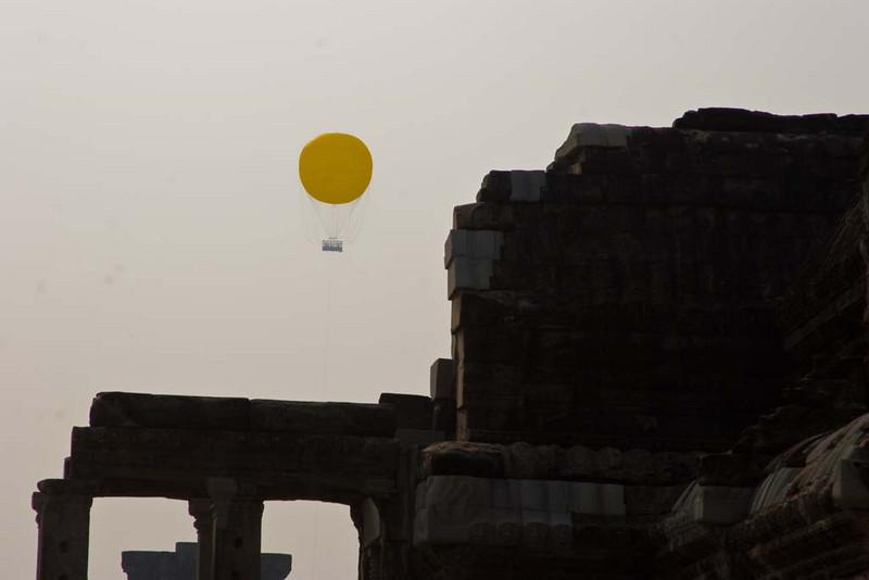 A hot air balloon near the entrance