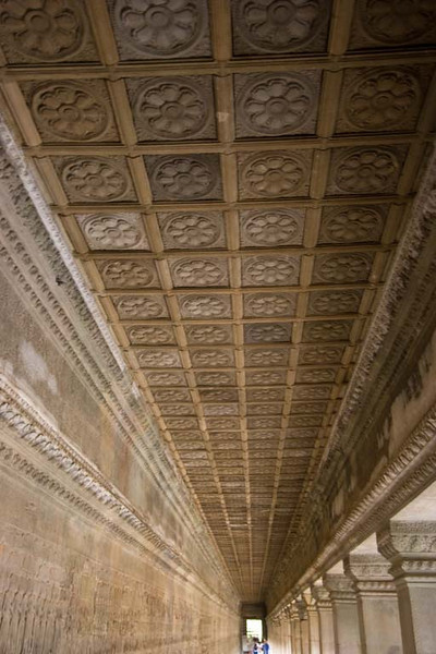 Note the ceiling and bas relief on the left wall