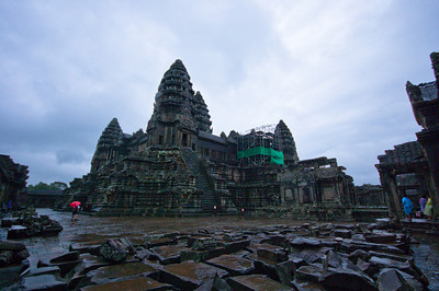 The five central towers of Angkor Wat. Unfortunately closed for repairs.