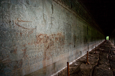 Angkor Wat is known for it's hallway length carvings depicting great battles and scenes from Hindu Mythology.