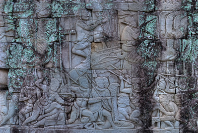 © Joseph Dougherty. All rights reserved.   Baroque style bas-relief mural depicting the Khmer army on the march, with officers and archers mounted on elephants.