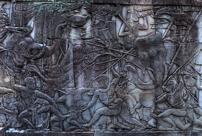 © Joseph Dougherty. All rights reserved.   Baroque style bas-relief mural depicting the Khmer army fighting against the forces of the Cham.