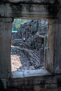 © Joseph Dougherty. All rights reserved.   Looking through a stone window portal into another portion of the temple complex.