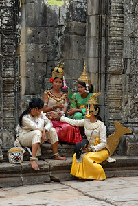 © Joseph Dougherty. All rights reserved.   Cambodian dancers taking a break to rest.