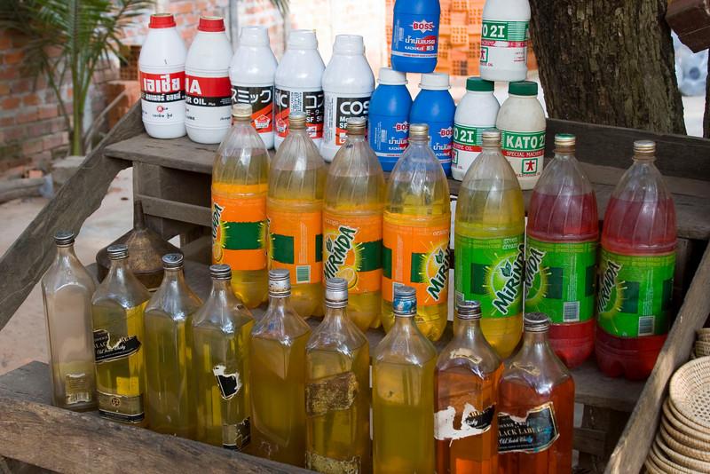 Closeup of Gasoline Bottles