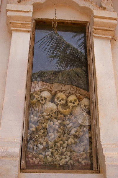 """Memorial to the """"Killing Fields""""<br /> Pol Pot killed 2 million Camboadians"""