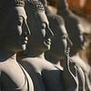 Buddha statues in the early morning.