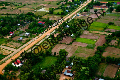 A patchwork of paddy fields and houses near Siem Rap, Cambodia