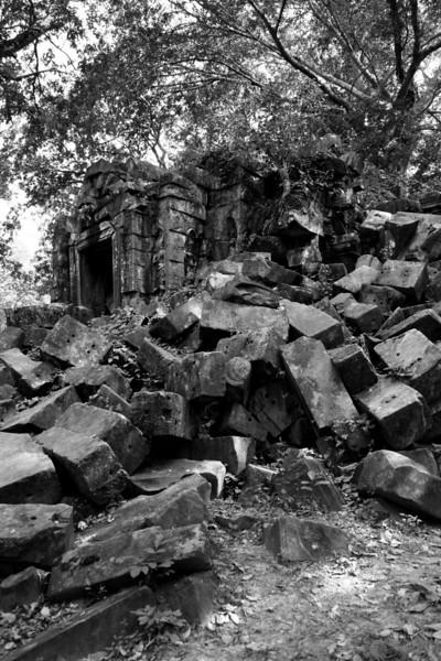Tumbled masonry at Beng Mealea Temple, near Siem Reap, Cambodia.