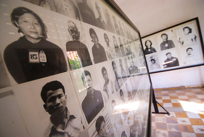 Rows of photo depisting a small number of the thousand sof Khmer Rouge Victims at the Tuol Sleng (S-21) Genocide Museum - Phnom Pehn, Cambodia