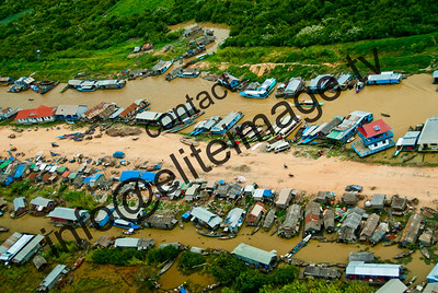 Aerial view showing the sprawling clutter of house boats on Lake Tonie Sap near Siem Rap