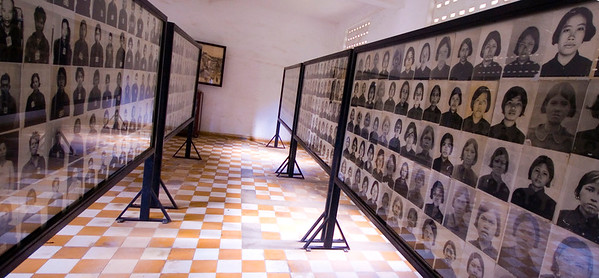 Row upon row of faces,  depicting a small number of the thousands of Khmer Rouge Victims, at the Tuol Sleng (S-21) Genocide Museum - Phnom Pehn, Cambodia