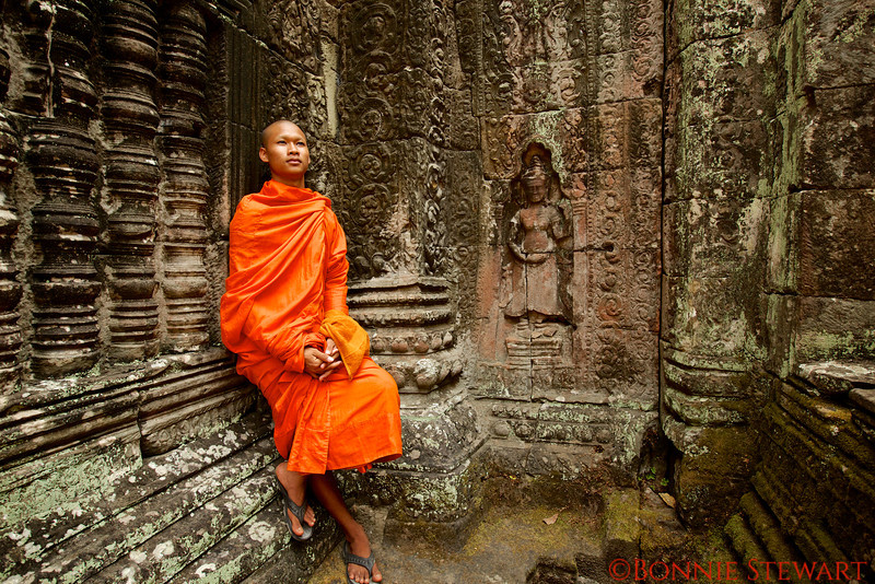 A Monk named Bansung at the Banteay Kdai temple