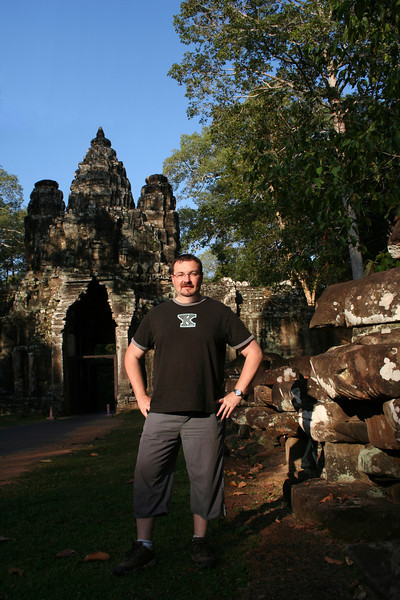 Me at the Victory Gate of Angkor Thom, Cambodia, January 2006.